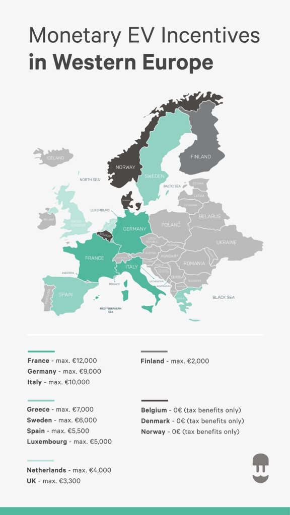 infographic map of europe showing different ev incentives ev charger incentives wallbox
