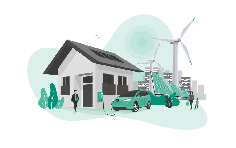home ev charging station connected to renewable energy production plant - self sufficient home thanks to electrified transport