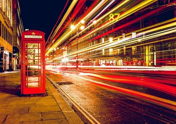 london red phone box traffic at night - UK - ev charger incentives guide - wallbox