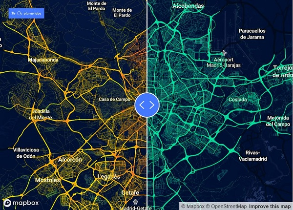 map showing air pollution levels in madrid before and after covid19 outbrek