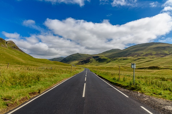 road to zero strategy - road in scottish highlands
