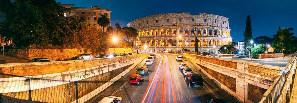 italy rome colloseum traffic